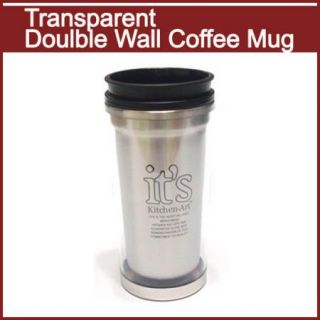 SS Resin Double Wall Kitchen Art Coffee Mug Clear New
