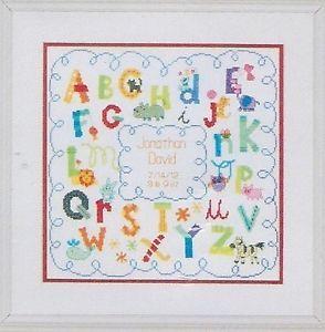 Baby Birth Annoucement Sampler ABC Alphabet w Animals Counted Cross Stitch Kit