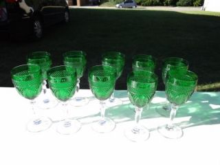 Wealthy Estate Vintage Crystal Emerald Forest Green Wine Glasses Stemware Set