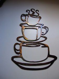 Coffee Cups Smaller Version Copper Kitchen Home Decor Metal Wall Art Hanging