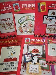 "Lot "" Peanuts"" Collectible Counted Cross Stitch Pattern Kits"