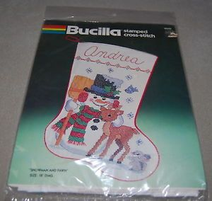Bucilla Christmas Snowman and Fawn Stocking Stamped Cross Stitch Kit New