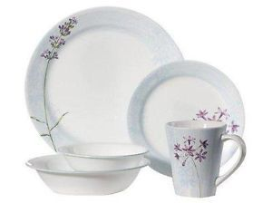 Complete 24pc Corelle Summer Meadow Dinnerware Set Soft Blue Purple Floral New