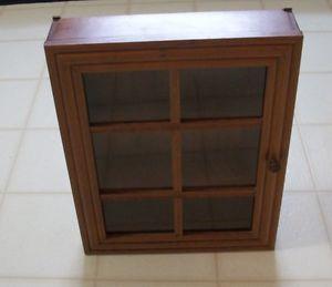 Wood Glass Door Wall Table Shelf Curio Nick Nack Cabinet Display Shadow Box
