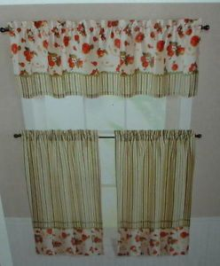 Red Apples Kitchen Curtains Tiers Valance Window Set Apple Fruit Stripes New