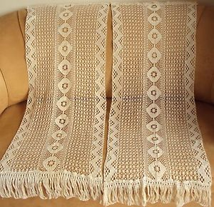 Pair Vintage French Lace Cream Curtains