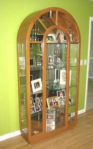 ... Philip Reinisch Lighted Oak Curio China Cabinet 575 ...