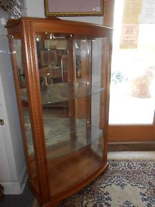 Oak Bow Front Curio Cabinet Lighted with Three Glass Shelves