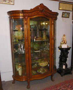 Antique Oak Curved Glass China Cabinet Curio