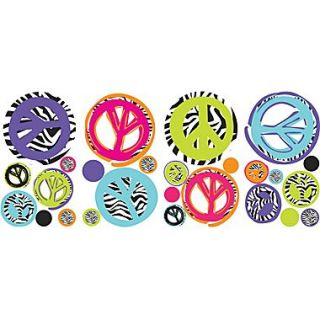 RoomMates Zebra Print Peace Signs Peel and Stick Wall Decal, 10 x 18