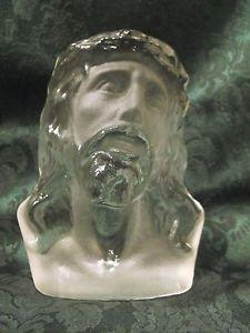 Viking Art Glass Crystal Glass Jesus Bust Statute Satin Finish Face Hand Made
