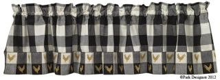 Country Chicken Curtain Valance Black and White Check Rooster Kitchen Valances
