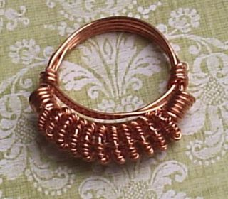 Handcrafted Copper Coiled Ring Wire Wrapped Unisex Size 10