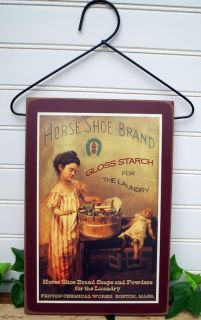 Vintage Laundry Room Sign Advertising Horse Shoe Brand Starch with Cute Hanger