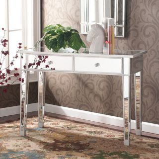 Hollywood Regency Mirrored Console Table Vanity Desk Mirror Glam