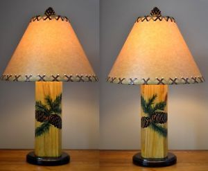 """Pair 23"""" Pinecone Twig Lamps Pine Cone Rustic Lamp Desk Table Painted Cabin New"""