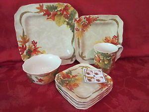 222 Fifth Autumn Celebration Harvest Thanksgiving 20pc Dinnerware Set Serv 4 New