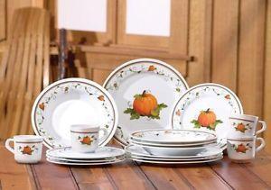16 Pumpkin Autumn Fall Harvest Melamine Serveware Dinnerware Plate Bowl Mug Set