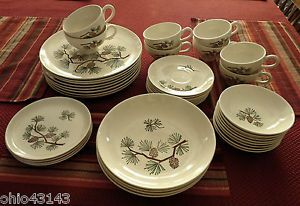 ... Vintage Stetson Mar Crest Brown Pine Cone Dinnerware Stoneware Set Very Nice ... & Narumi Olympia (Pine Cones) Salt u0026 Pepper Set Fine China Dinnerware ...