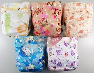 "Cute re Usable Bamboo Baby Diaper Cloth Nappy Bamboo Insert ""Animal""5 Patterns"