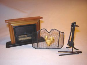Vintage Collectible Doll House Miniature Fireplace w Screen and Accessories