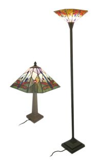 Stained Glass Dragonfly Table Lamp Floor Lamp Pair