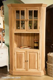 Bramble Furniture Mahogany Cape Cod Dining Display Corner Cabinet in Driftwood