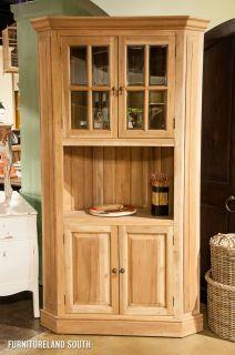 Bramble Furniture Mahogany Cape Cod Dining Display Corner Cabinet in Driftwood