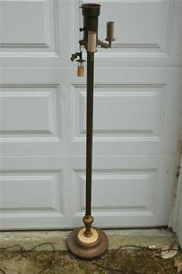Antique Brass Marble Footed Base Floor Lamp