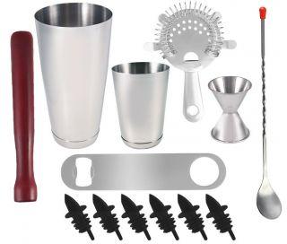 13 Piece Professional Bartender Kit Bartending Tools Cocktail Shaker Set