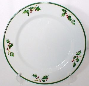 4 Christopher Radko Traditions Holiday Celebrations Salad Plates Christmas Holly