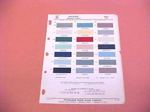 1958 Buick All Models Color Paint Chips Chart 58