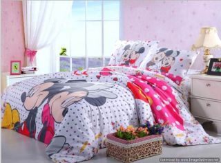 Twin Full Queen Duvets Comforter Sets 5pc White Mickey Minnie Mouse Bed Linens
