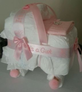 Bassinet Diaper Cake Baby Shower Decor Gift It's A Girl