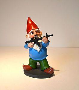 Hand Painted Machine Gun Gnome Statue Garden Sculpture Figurine Unique Cool