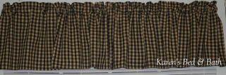 Rustic Black Beige Check Cabin Lodge Curtain Valance