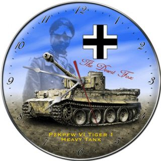 Rommel with PzKpfw VI Tiger I Tank Collectible Clock Made in USA