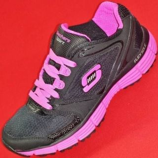 New Womens Skechers Agility Black Pink Athletic Training Sneakers Shoes 8 38