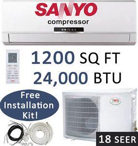 24000 BTU Ductless Mini Split Air Conditioner Heat Pump 18 SEER Sanyo Compr