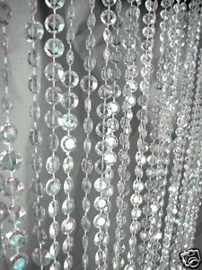 Beaded Curtains Iridescent Diamond Crystal 9 Feet Long for Wedding Backdrops