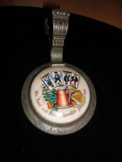 Vintage German Inlay Pewter Beer Stein Lid Only
