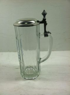 Vintage Antique German Heavy Glass Beer Stein with Pewter Lid