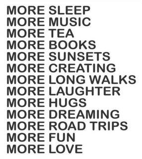 More Sleep More Music More Tea More Books More Vinyl Wall Decal Sticker