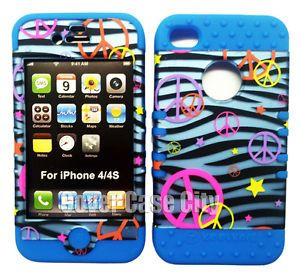 Peace Signs Blue Zebra Print Case 2 in 1 Cover for Apple iPhone 4 4S Accessory