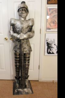 5 Foot Silver Suit of Armor Knight Long Sword Down