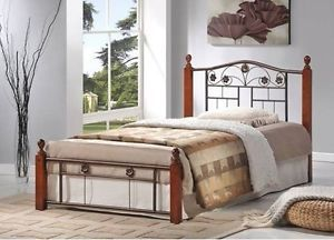 Metal Bed Frame Wood Posts Headboard Footboard Twin Full Queen Mahogany Black