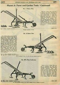 1924 Ad Planet Jr Farm Garden Tools Riding Plain Cultivator One Horse Hoe Harrow