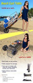 Copa Aluminum Folding Beach Table Cart Rolling Portable Outdoor Park Beach