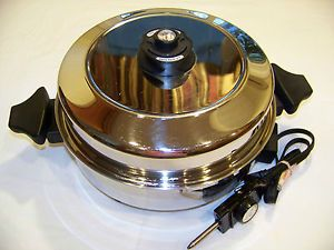 "13"" Carico Ultra Tech II 1200W Liquid Core Jumbo Electric Skillet Waterless"