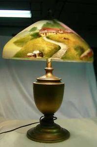 Antique Phoenix Glass Reverse Painted Lamp Shade Lamp